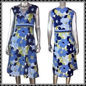 Croft and Barrow Blue Floral Print Dress Sz 18
